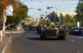 Armored military technics on the Mariupol's street