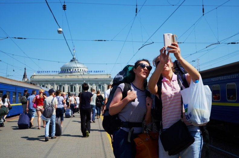 women selfie photo Odessa train station