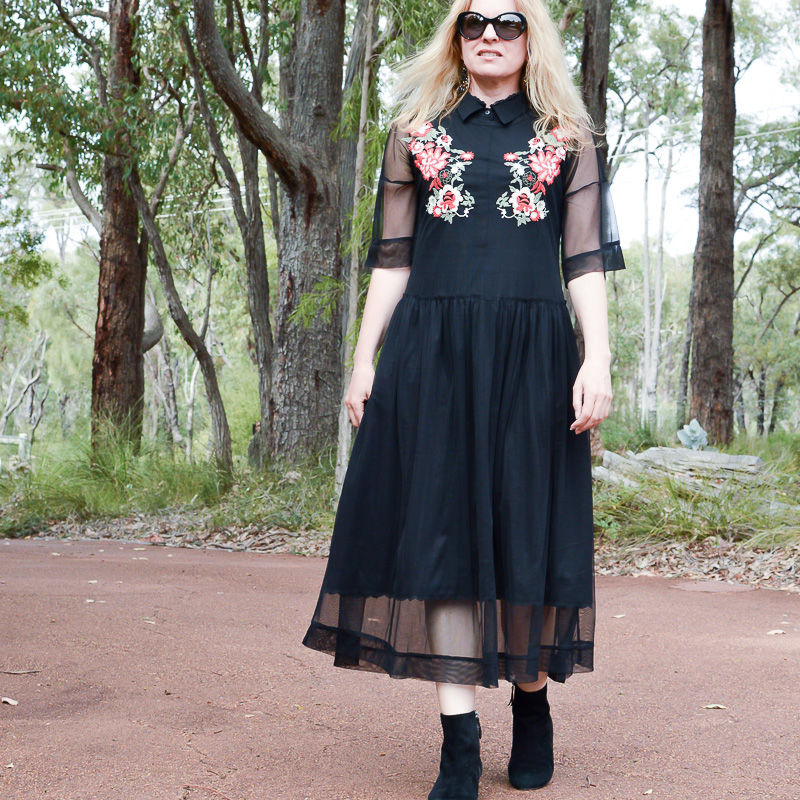 black Zara tulle dress