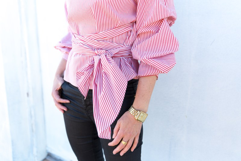 ZARA-red-stripe-blouse-pleated-sleeves-ali-peat
