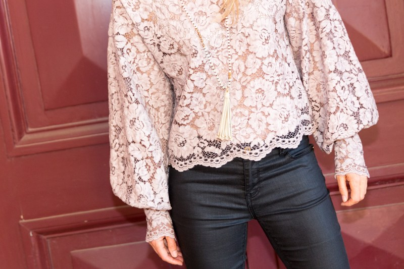 ZARA pink lace top Ali Peat