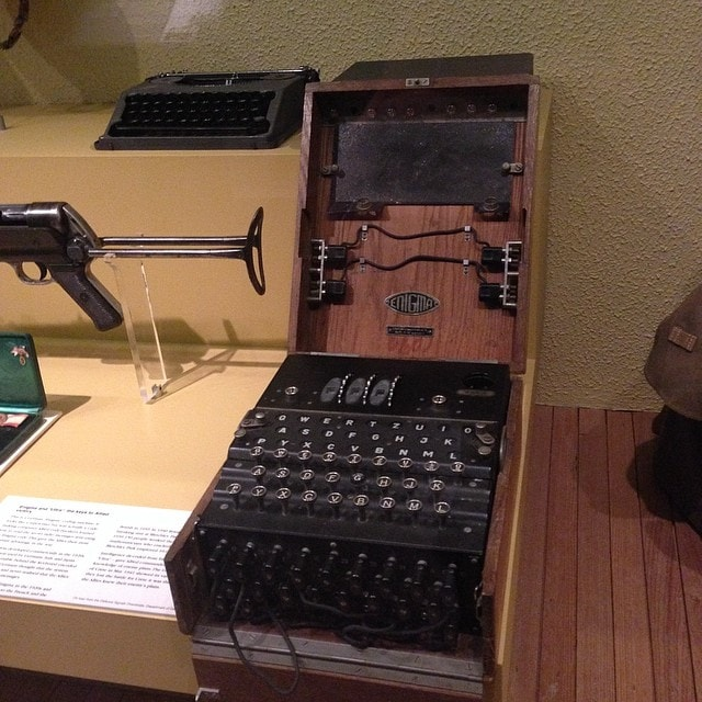 An Enigma machine.