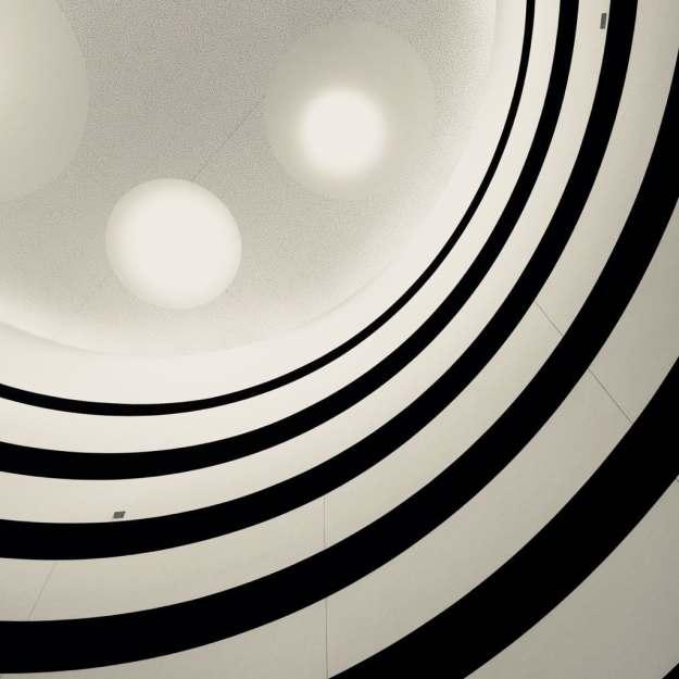 The vertiginous con hotel lobby ceiling.