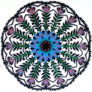 """Blue Garden Gwiazdy, hand cut paper on paper, 12"""" x 12"""", Sold - Available in card set"""