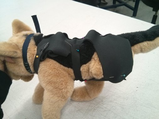 prototyping with a stuffed dog with a leg removed