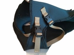 front of the harness