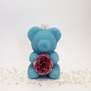 Crystal bear blue with tiara and flower