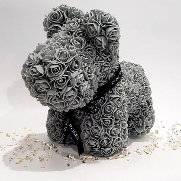 Grey long rose dog with ribbon