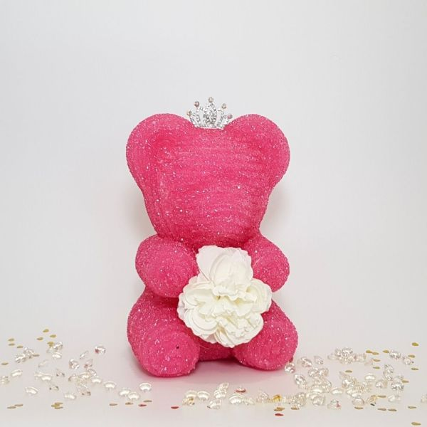 crystal bear pink with tiara and flower