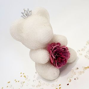 White crystal bear with tiara and flower