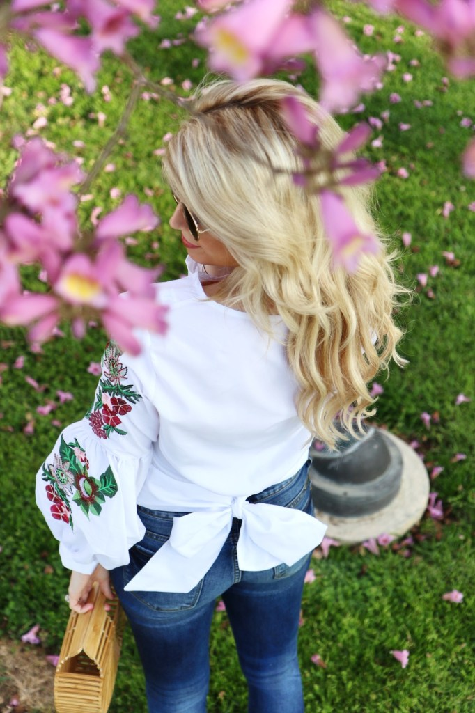 Embroidered Sleeve & Bow Back Top