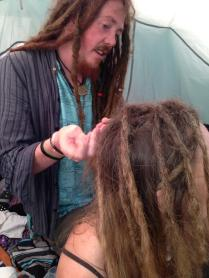 having my dreads done