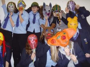 Carlton School survivors! Art classes in the sports centre after their school burnt down.
