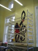 """""""Everyone under the Skin"""" - Painting the school musical score on the walls at Chapplethorpe School, Chaple Allerton, Leeds"""