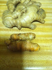 Fresh ginger root and turmeric root below