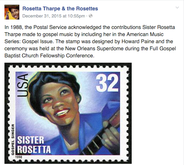 The Sister Rosetta Stamp as part of the Gospel Issue in 1988