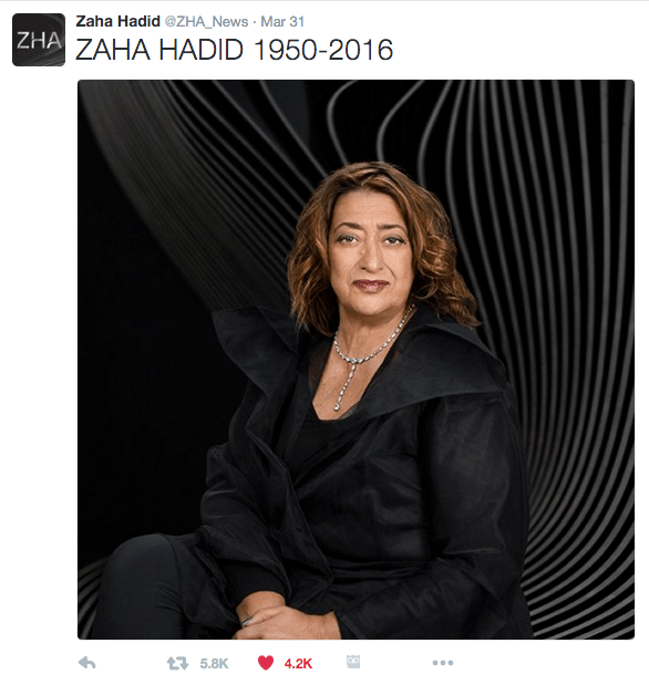 Posted on Twitter by Zaha Hadid @ZHA_News