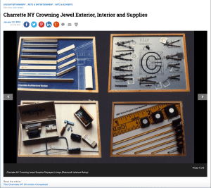 Trays of Charrette's design tools laid out like in an orderly fashion like fine jewelry in 1982.