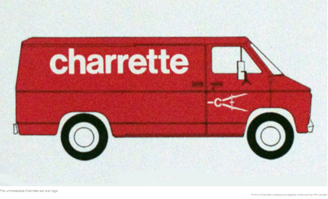The red Charrette van made overnight deliveries of much needed supplies long before the existence of FedEX and all the overnight deliverers.