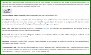 five credit card types