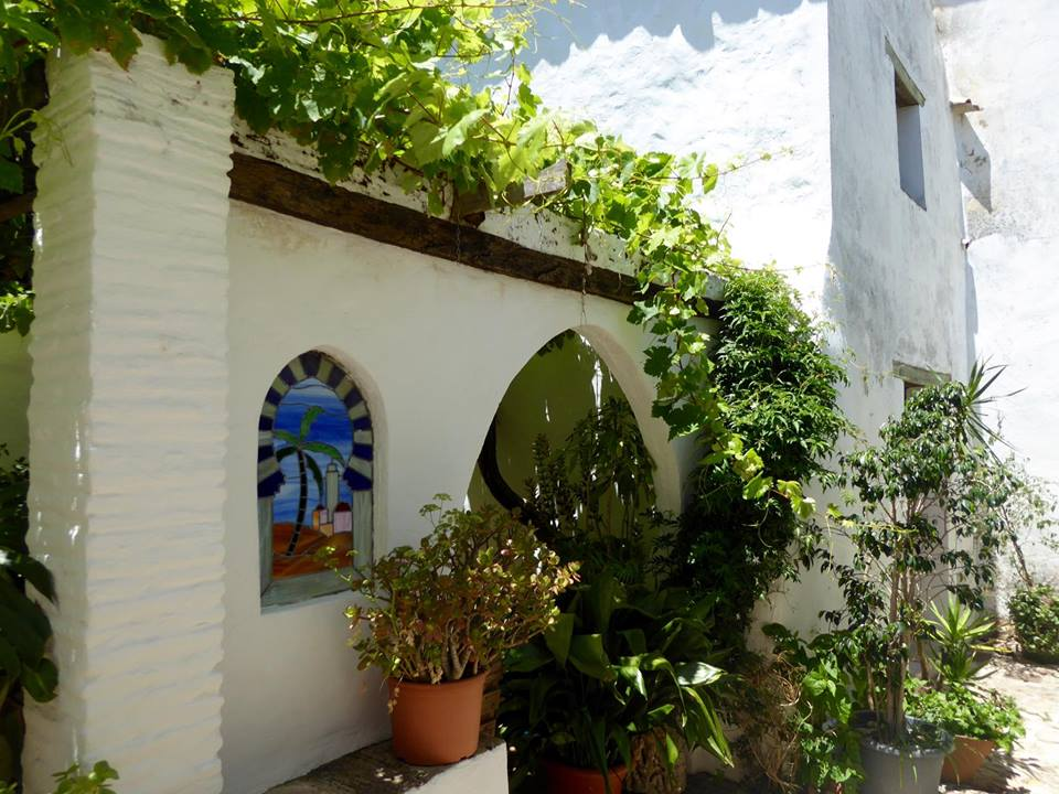 Whitewashed house with plants in Castellar de la Frontera