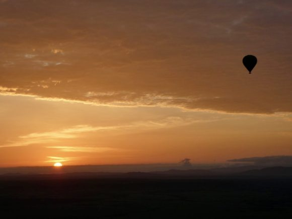 View from hot air balloon in Kenya