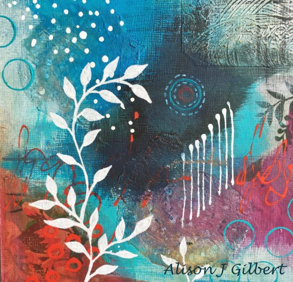 MMB 15 19019CU 580x558 - Framed small, blue and red abstract mixed media art (19)