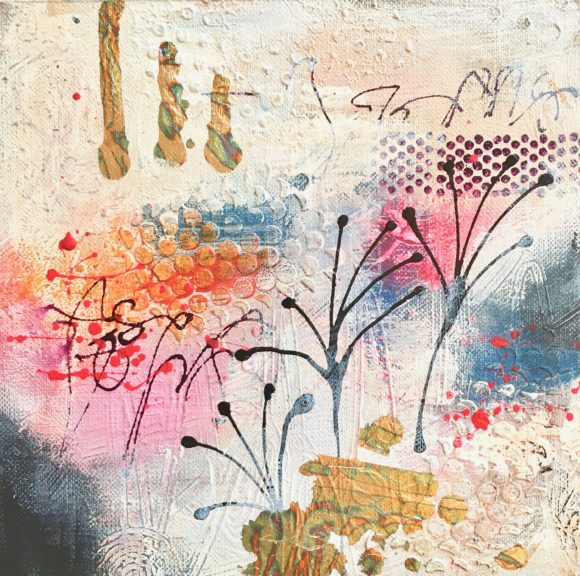 MMB 15 19022 CU 580x576 - Small, framed, cream and pink mixed media abstract art (22)