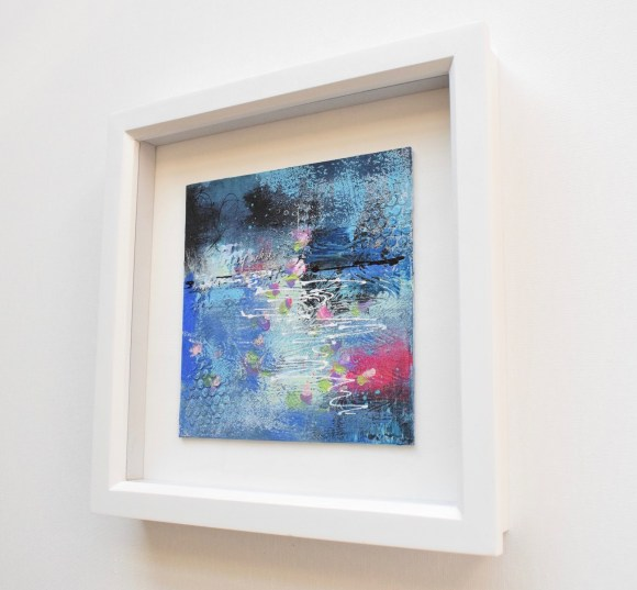 DSC 6054 580x537 - Small, blue, mixed media art, in white frame :  blue abstract water floral (37)