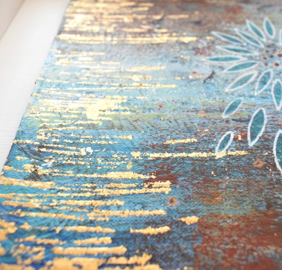 DSC 6063 580x555 - Small, mixed media abstract art, with flower motif, in turquoise, brown and gold leaf (38)