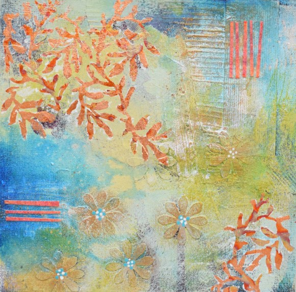 DSC 6074 580x572 - Small, mixed media abstract art, aqua and gold in white frame(40)