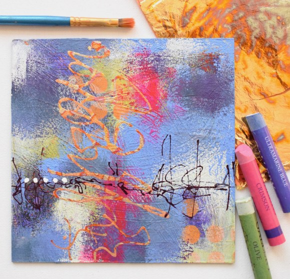 DSC 6083 580x558 - Small,  lilac and mauve abstract mixed media art, with gold leaf detail, and in a white frame (34)