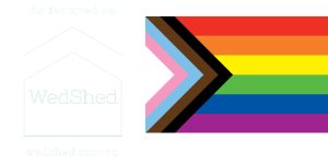 WedShed logo and Rainbow Pride Flag