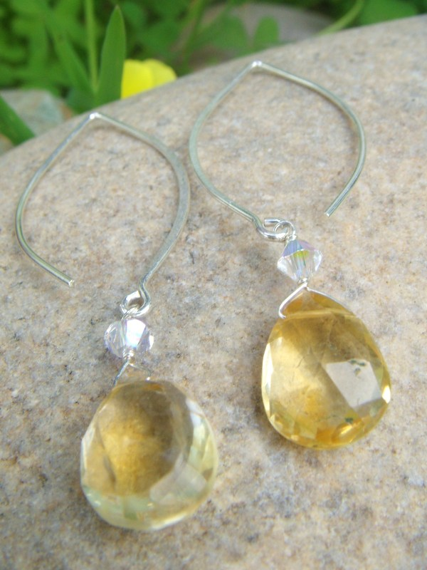 citrine drop swarovski crystal silver earrings