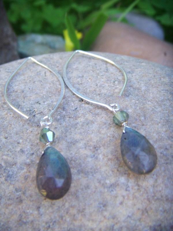 labrodite drop silver earrings