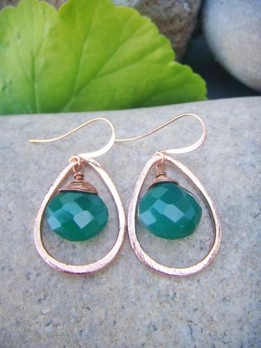copper tear drop earrings