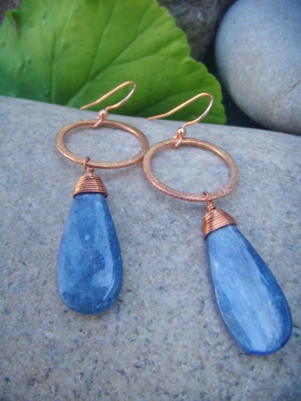 kyanite earrings copper hoops