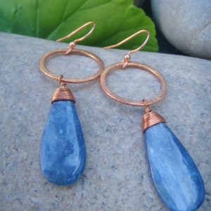 kyanite earrings copper hoops