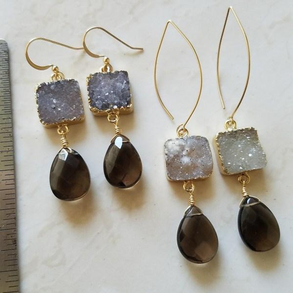 smoky druzy earrings