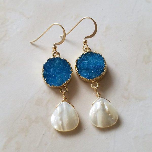 blue druzy mother of pearl dangle earrings