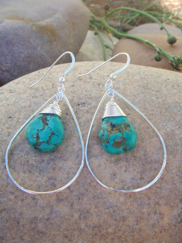 medium turquoise teardrop earrings