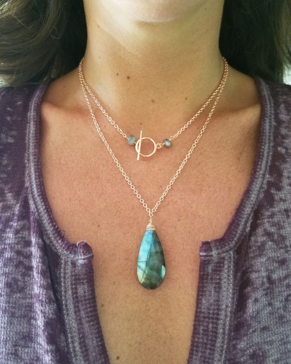 labradorite necklace on
