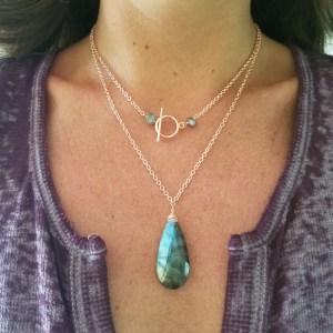 labradorite necklace on