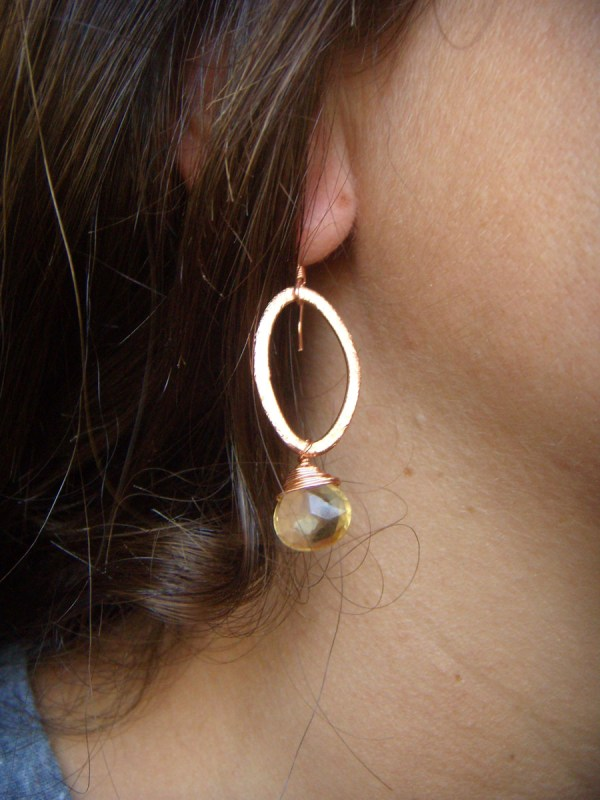 marquise copper earrings