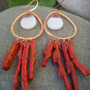 mother of pearl coral earrings