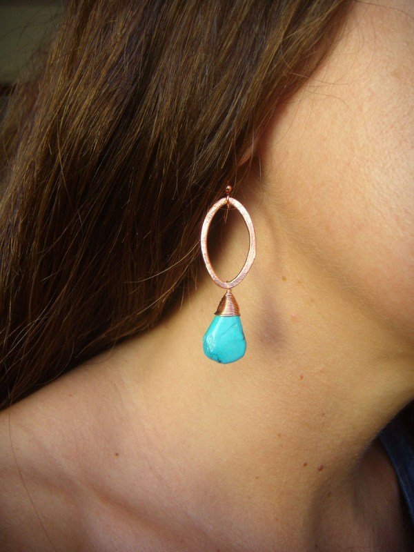 copper oval turquoise earrings