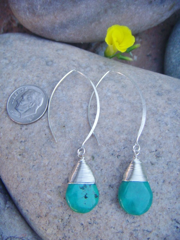 long hook sterling turquoise earrings