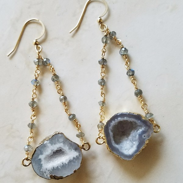 white druzy agate geode earrings