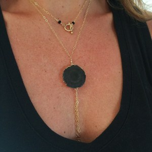 black agate tassel necklace