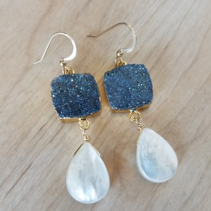 smoky druzy drop earrings